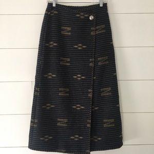Vintage Wool Ralph Lauren Wrap Skirt Aztec Print